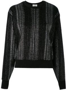 свитер с металлическими нитями и плиссировкой Saint Laurent