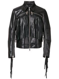 куртка с декоративными молниями и бахромой Dsquared2