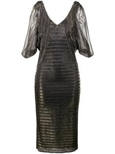 металлическое платье в полоску с разрезами на плечах Katharina Haney