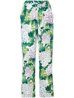 брюки в пижамном стиле с гортензиями Dolce & Gabbana