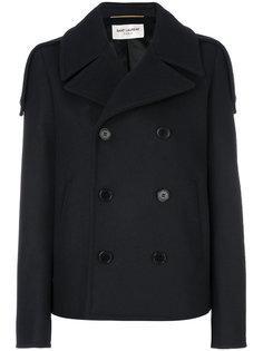 короткое двубортное пальто Saint Laurent