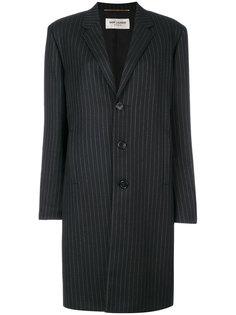 пальто средней длины в тонкую полоску Saint Laurent