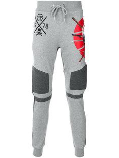 спортивные брюки с фактурными вставками Philipp Plein