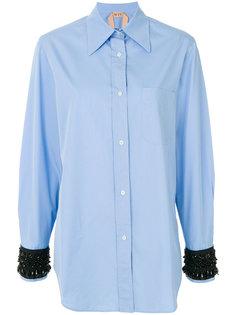 рубашка с расшитыми бусинами манжетами Nº21