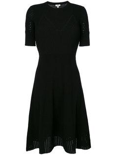 приталенное расклешенное платье с ажурной отделкой  Kenzo