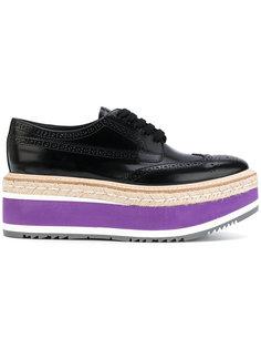 туфли дерби на массивном каблуке  Prada