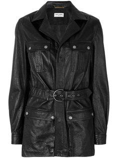 кожаное пальто под пояс Saint Laurent