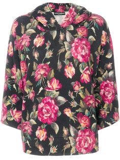 толстовка с капюшоном с розами Dolce & Gabbana
