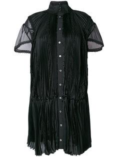 плиссированное платье с ажурными деталями Sacai