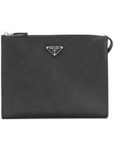 кожаный клатч с логотипом Prada