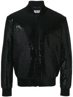 куртка-бомбер с вышивкой из пайеток Saint Laurent
