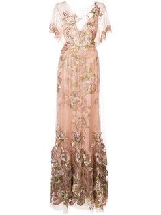 длинное платье с цветочным мотивом Marchesa Notte