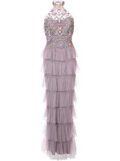 декорированное вечернее платье с вырезом-петлей халтер Marchesa Notte