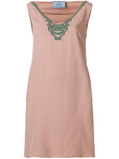 платье с отделкой стразами у выреза Prada
