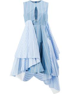 асимметричное расклешенное платье в полоску  Facetasm