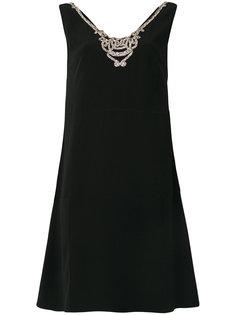 декорированное платье с V-образным вырезом Prada