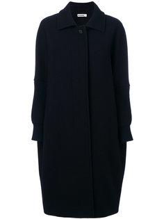 пальто миди с трикотажной отделкой  Jil Sander
