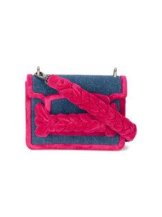 джинсовая сумка на плечо с бархатными деталями косичкой Miu Miu