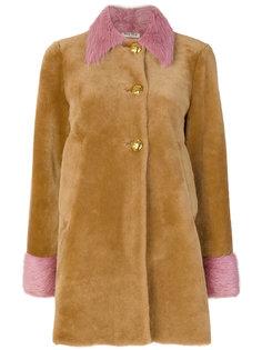 пальто с контрастной отделкой  Miu Miu