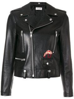 байкерская куртка с вышитым фламинго Saint Laurent