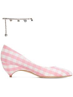 туфли-лодочки в клетку гингем с украшением на щиколотку X Avigail Liudmila