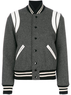 куртка-бомбер в стиле колор блок Saint Laurent