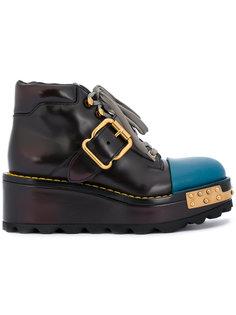 ботинки на платформе с пряжками Prada