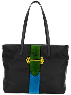 сумка-тоут с контрастной панелью Prada