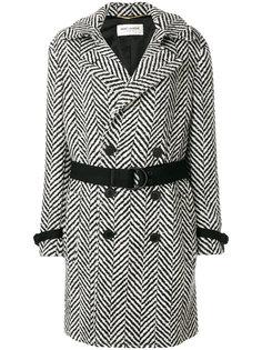 пальто с узором и поясом Saint Laurent