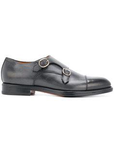 туфли-монки с ремешками на пряжках Santoni
