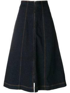 джинсовая расклешенная юбка миди  Fendi