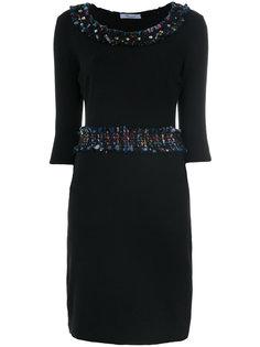 платье с отделкой из твида с кристаллами Blumarine