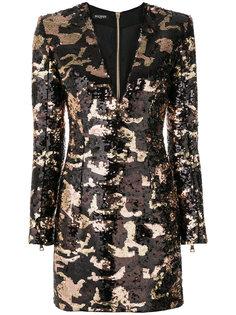 камуфляжное платье с пайетками Balmain