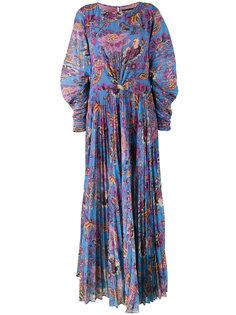 платье макси с цветочным принтом и плиссировкой  Etro