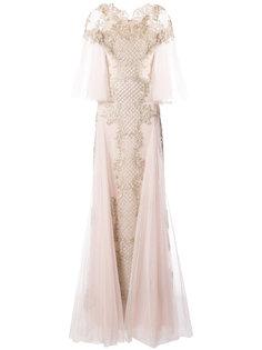 платье с пышными рукавами Marchesa