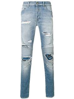 байкерские джинсы с рваными деталями Marcelo Burlon County Of Milan