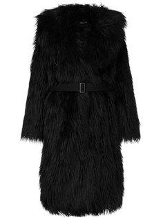 пальто из искусственного меха с поясом  Goen.J