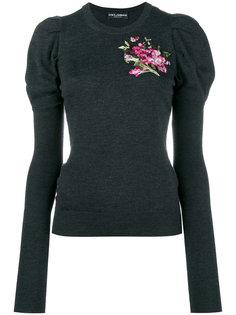 трикотажный топ с пышными рукавами и цветочной вышивкой Dolce & Gabbana
