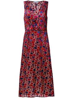 платье с цветочным узором и эффектом металлик Prada