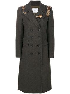 двубортное пальто с вышитыми деталями Dondup