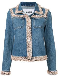 джинсовая куртка с отделкой из бусин MSGM