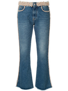 джинсы с оторочкой из жемчуга MSGM