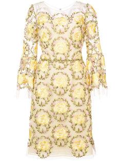 кружевное платье с цветами Marchesa Notte