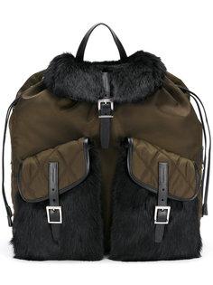 рюкзак с меховой отделкой Prada