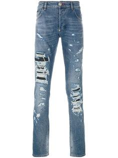 джинсы узкого кроя с эффектом потертости Philipp Plein