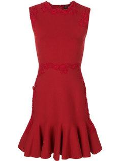 платье с баской и цветочной вышивкой  Giambattista Valli