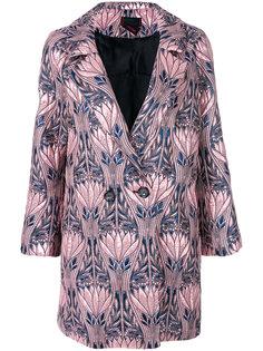 двубортное пальто с цветочным рисунком Femme By Michele Rossi