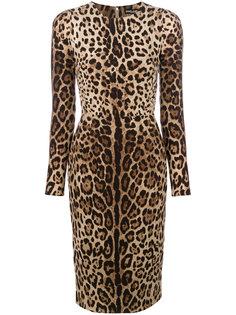 платье с леопардовым принтом  Dolce & Gabbana