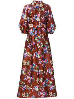 длинное платье с цветочным узором Delpozo