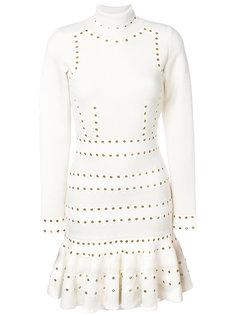 короткое платье с высоким воротником и люверсами Alexander McQueen